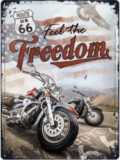 Plechová cedule Route 66 Feel The Freedom 40x30 cm