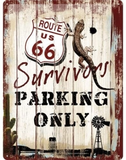 Plechová cedule Route 66 Survivors Parking only 40x30 cm