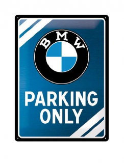 Plechová cedule BMW Parking only 40x30 cm - Metallic Blue
